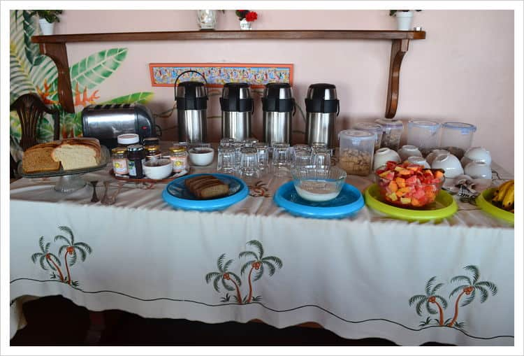Breakfast table at Petite Anse Hotel