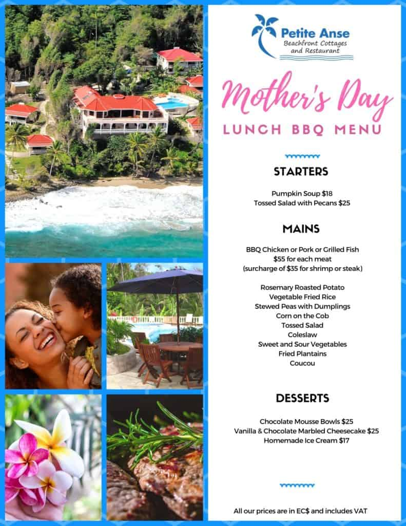 BBQ lunch Mother's Day Menu 2021